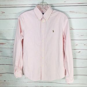 Ralph Lauren Custom Fit Pink Pinstriped Top Small